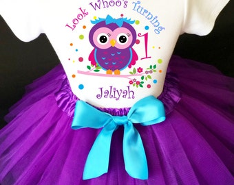 Owl Look WhOO's Whos Who's Purple Pink Blue Polka dots 1st First Girl Birthday Tutu Outfit Custom Personalized Name Age Party Shirt Set