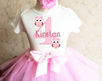 Owl Look WhOO's Whos Who's Light Pink 4th Girl Birthday Tutu Outfit Custom Personalized Name Age Party Shirt Set