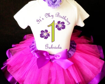 Hibiscus Flower Purple Hot pink Luau Hawaiian Tropical 1st First Girl Birthday Tutu Outfit Custom Personalized Name Age Party Shirt Set