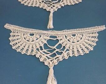 Lovely Vintage Hand Filet Croched Ecru Tassle Pieces