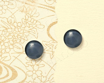 Sale - 10pcs handmade dark grey color clear glass dome cabochons 12mm (12-91253)