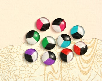 10pcs handmade assorted geometric round glass dome cabochons 12mm (12-9413)