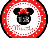 Red Minnie Mouse Inspired Monthly Milestone Onesie Shirt Bodysuit Stickers