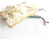 Green upholstery pouch, gold makeup pouch, pencil case, purse organizer, cosmetic bag, floral pouch,