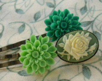 Green Flowers Rose Cameo Hair Pin Set of 3