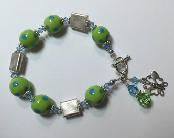 Flutter  Lampwork Bracelet - LIme Green and Blue Sterling Silver Accents