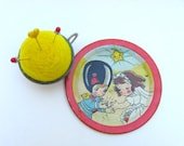SHOP CLOSING SALE - Pin Cushion - Needle Felted - In Vintage Child's Tin Tea Cup With Saucer - The Wedding - Yellow And Red