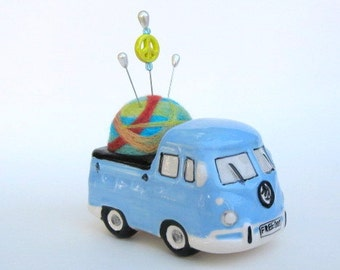 SHOP CLOSING SALE - vw Kombi Bus Love And Peace Pin Cushion - Needle Felted - Light Blue