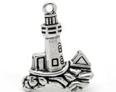 Antique Silver Lighthouse Charm Drop with Loop 30x23mm (4) ymc006A