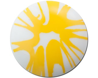 Funky Vintage Yellow Splatter Cabochon 30mm (2) cab393A