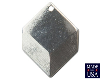 1 Hole Silver Plated Geometric Square Charms Drops 22x16mm (6) mtl076D