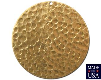 1 Hole Raw Brass Hammered Circle Pendants 35mm (4) mtl297B