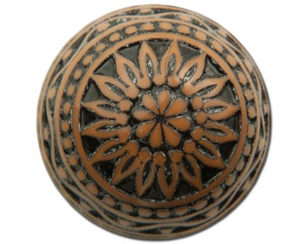Vintage Etched Mosaic Brown and Black Cabochons 18mm (2) cab710D