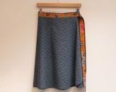 M/L Geometric Lines Side Tie Wrap Skirt with Vintage Batik Sash, Knee Length Skirt, Cotton Skirt, A Line Skirt, Multi Size, Modest