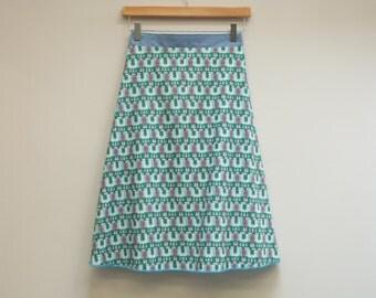 S/M Blue and Green Geometric Wrap Skirt with Long Sash, A Line Skirt, Knee Length Skirt, Cotton Skirt, Multi Size, Modest