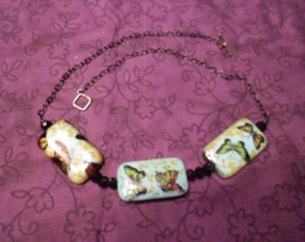 Butterfly Necklace/ Ceramic Beads/Jewelry