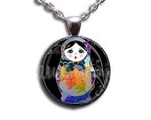 Matryoshka Doll Russian Doll - Round Glass Dome Pendant or with Necklace by IMCreations - SM102