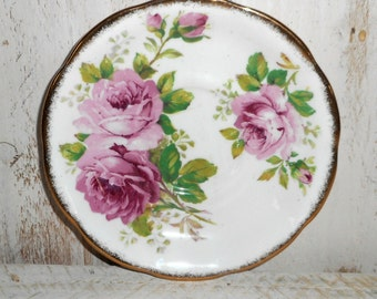 Antique Royal Albert American Beauty Bone China,Made in England Shabby Chic Rose Plate, Shabby Rose Saucer