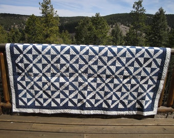 Vintage  Navy Blue And White Quilt | Old Handmade Quilt | Primitive Quilt Blue And White Hand Quilted Quilt