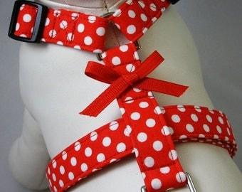 Dog Harness - Red Polka Dot