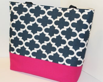 Quatrefoil Tote Bag . Fulton print Navy with Hot Pink . Standard size . Quatrefoil beach bag . great bridesmaid gift  MONOGRAMMING available