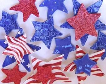 Celebrate American Labor Day ceramic dish set  5 red white & blue pottery stars  / USA Stars Stripes  VOTE