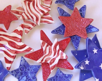 Stars & Stripes ceramic Dish Set -- 5 USA red white blue pottery plates, candle holder, soap dish, 4th of July Decor