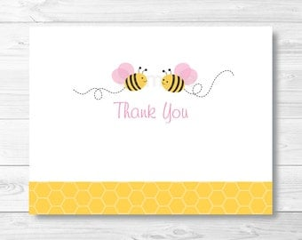 Cute Pink Bumble Bee Thank You Card / Bumble Bee Baby Shower / Pink & Yellow / Folded Card Template / PRINTABLE Instant Download