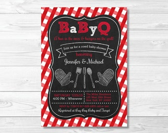 Chalkboard BBQ Picnic Baby Shower Invitation / BaByQ Baby Shower Invitation / Gingham / Coed Shower / PRINTABLE