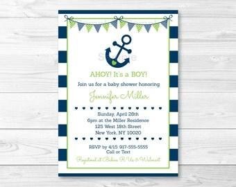 Cute Nautical Baby Shower Invitation / Nautical Baby Shower Invite / Anchor Baby Shower Invite / Navy & Green / Baby Boy / PRINTABLE A198