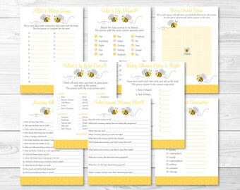 Bumble Bee Baby Shower Games Package / Bee Baby Shower / 8 Printable Games / Gender Neutral / INSTANT DOWNLOAD