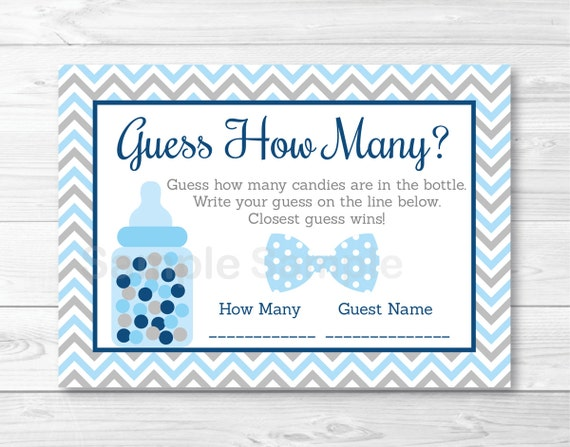 Cute Bow Tie Guess How Many Game / Bow Tie Baby Shower / Chevron Pattern /  Candy Guessing Game / Baby Blue / Printable INSTANT DOWNLOAD A290