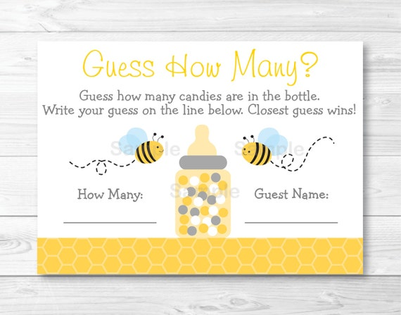 Baby Showers How Many ~ Bumble bee guess how many game baby shower