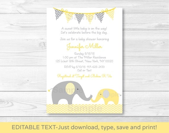 Cute elephant baby shower invitation elephant baby shower invite il570xn filmwisefo