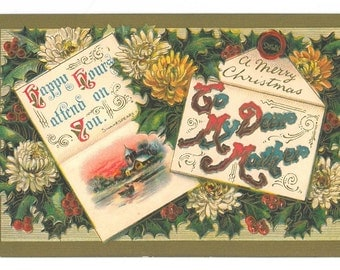 Vintage Christmas Letter Postcard to Mother
