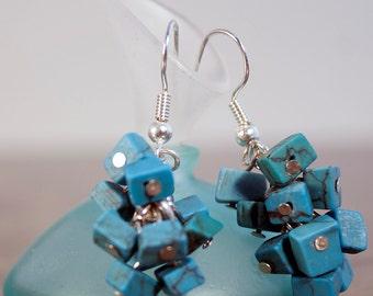 Blue Square Earrings, Cluster Earrings, Dangle Jewelry, Drop Earrings, Chandelier Earrings