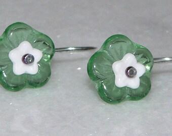 Flower Earrings, Green Glass, White Flower Earrings, Girls Gift