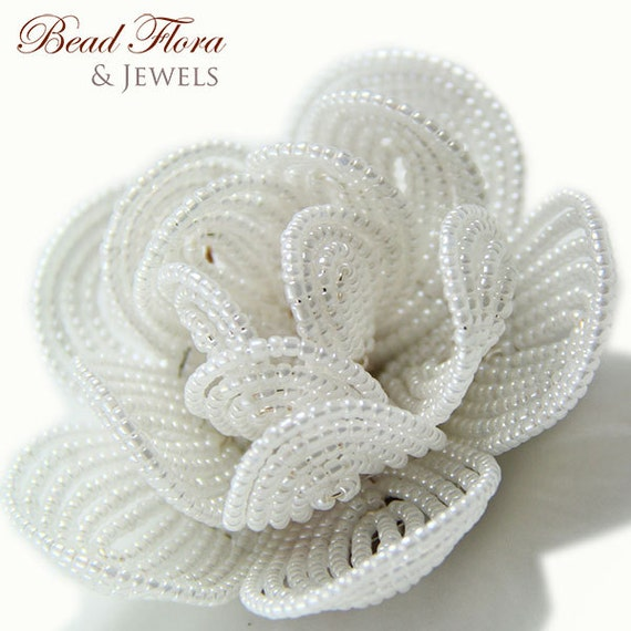 brides beaded hair flower clip, White Royalty French beaded hair clip - for the bride or bridesmaid winter fashion accessory