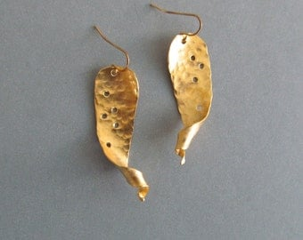 Artisan Forged long Gold earings, hand made by Bianca