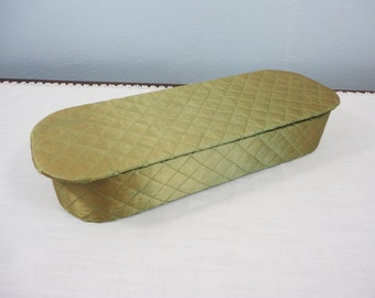 Vintage Quilted Glove Box - Satiny Olive Green