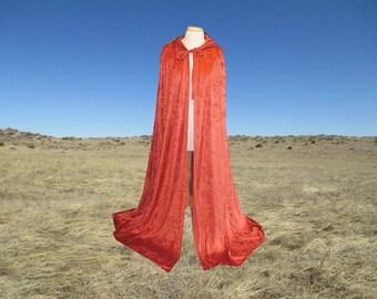 Cloak - Cape - Orange Rust Velvet- Renaissance - Halloween Costume - Medieval- Harry Potter