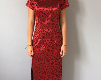 Vintage Cheongsam Dress - Mandarin Collar Red Small - Asian Dawn Joy
