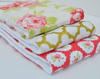 GOLDEN ROSES ....Set of (3) Very ABSORBENT Burp Cloths...Coordinating  fabric on 3ply cotton burp cloths......  Very handy for baby care