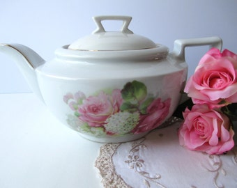 Vintage German Pink Floral Teapot