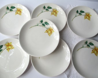 Vintage Yellow Rose Bread and Butter Plates Set of Seven