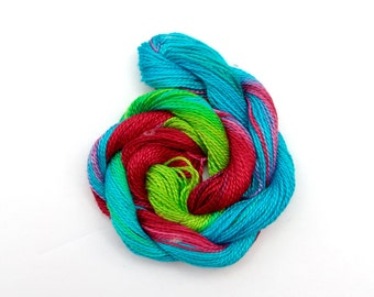 Hand dyed cotton perle 8 embroidery thread - lime green, bright turquoise, dark pink, raspberry, space dyed thread, 30 metre (33 yard) skein