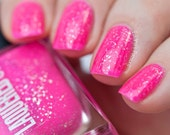 Maui // Handmade Neon Pink Nail Lacquer// Sterling Silver Flake// Cruelty Free
