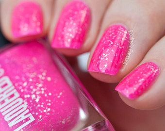 Maui // Handmade Neon Pink Nail Polish// Sterling Silver Flake// Cruelty Free