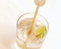 Cocktail Stirrer - Gold Foil - Flamingo -  Drink Stirrers -  Stir Sticks- Cocktail Party - Tropical -  Set of 10