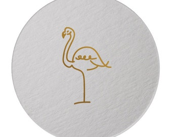 Foil Coasters - Gold Foil Stamped - Flamingo- cocktail party - Tropical  - Hostess Gift - Foil - set of 10 -